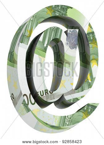 E-mail sign from euro bill alphabet set isolated over white. Computer generated 3D photo rendering.