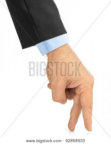 Small man made of fingers hand isolated on white background
