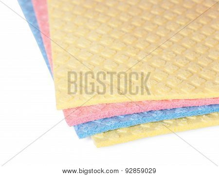 Closeup Multicolored Sponges For Dishwashing