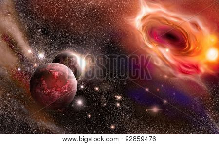 Black Hole And Planets