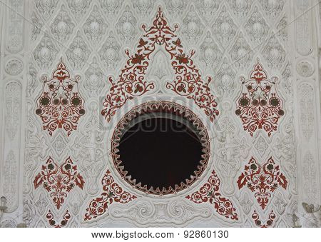 White and red decoration close up