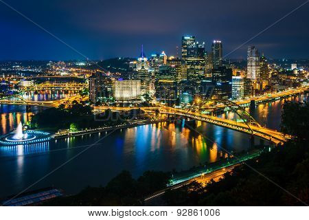 Night View Of Pittsburgh From The Top Of The Duquesne Incline In Mount Washington, Pittsburgh, Penns