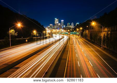 The Pittsburgh Skyline And I-279 At Night, In Pittsburgh, Pennsylvania.