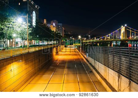 View Of Fort Duquesne Boulevard At Night, In Pittsburgh, Pennsylvania.