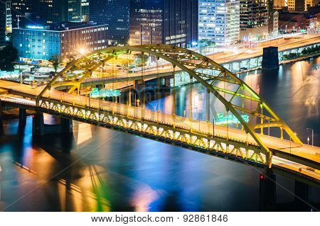 View Of The Smithfield Street Bridge At Night From Grandview Avenue In Mount Washington, Pittsburgh,