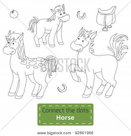 Connect The Dots (farm Animals Set, Horse Family)