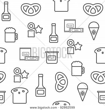 Seamless background on gluten products theme with outline objects: bread, pastry, pasta, beer, yogur