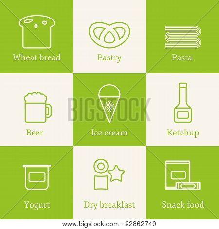Set of outline icons with allergic gluten products: bread, pastry, pasta, beer, yogurt, ice cream, d