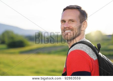 Man Traveling With Backpack.