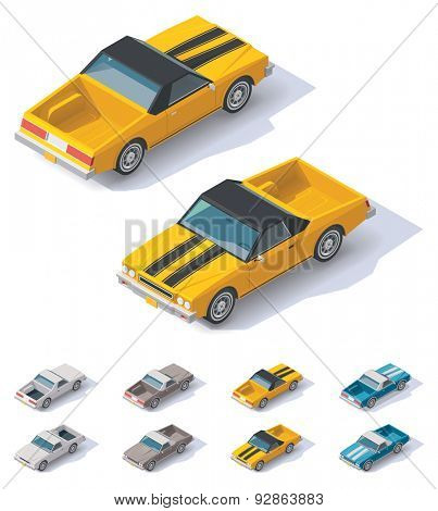 Isometric icon representing utility coupe car