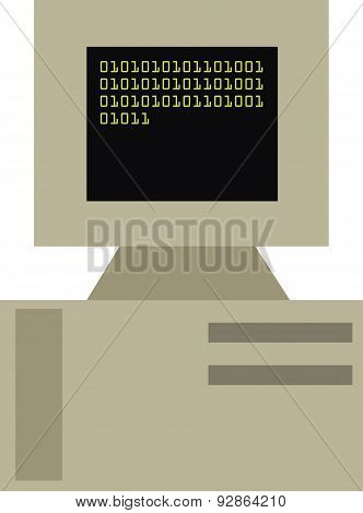 Vector Illustration Of A Vintage Personal Computer.