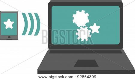 Vector Illustration Of A Computer And Smartphone.