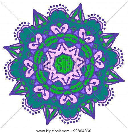 Hand-drawn Colored Mandala Zentangl. Holi Festival Of Colors