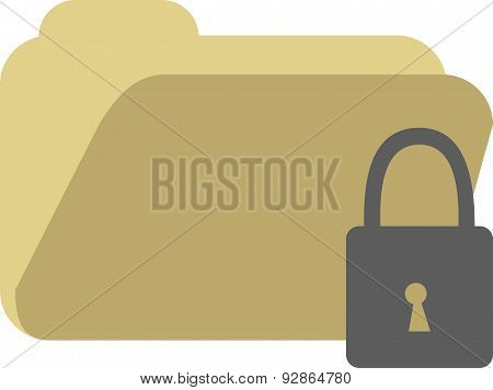 Vector Illustration Of A Document File With Lock.