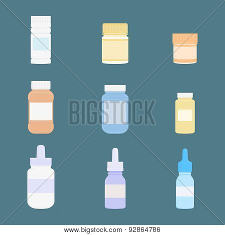 Set of meds. Vector icons. Medicine