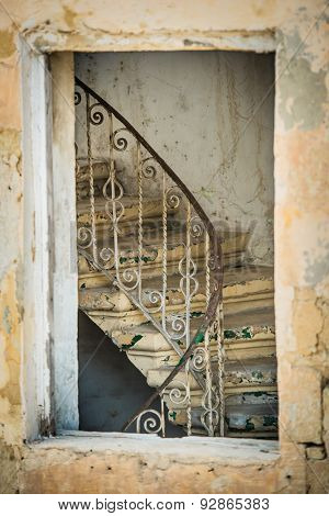 old ruined vintage stairs in a building of historical center of Valletta in Malta