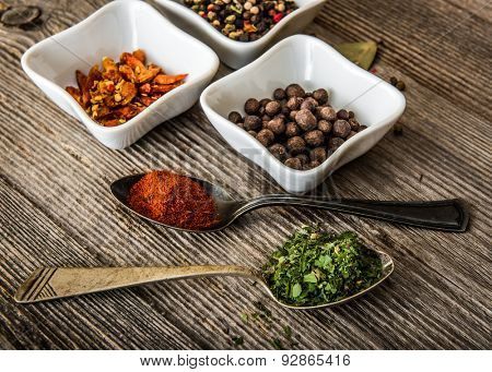 different spices in white bowls and silver spoons on wooden background
