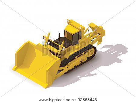 Isometric icon representing mining bulldozer