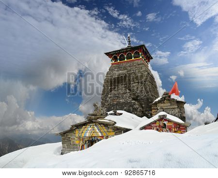 Tungnath Shiva Temple On A Clouds Background