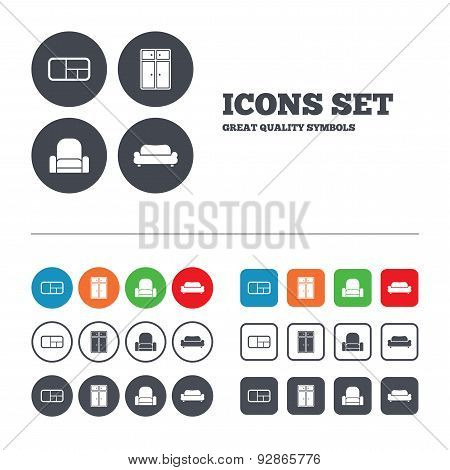 Furniture icons. Sofa, cupboard, and book shelf.