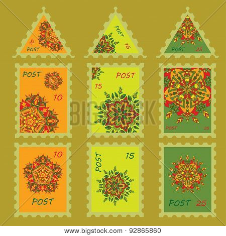 Set Simple Design For Postage Stamps With Hand Drawn Mandalas Zentangl In Different Colors