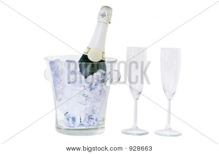 Champagne Bottle And Glass Isolated On White