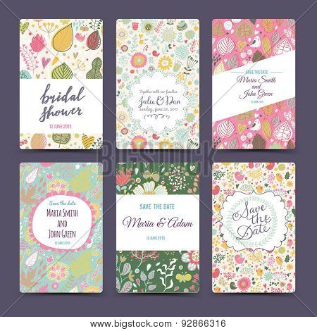 Lovely wedding romantic collection with 6 awesome cards made of hearts, flowers, wreaths and birds. Graphic set in retro style. Sweet save the date invitation cards in vector