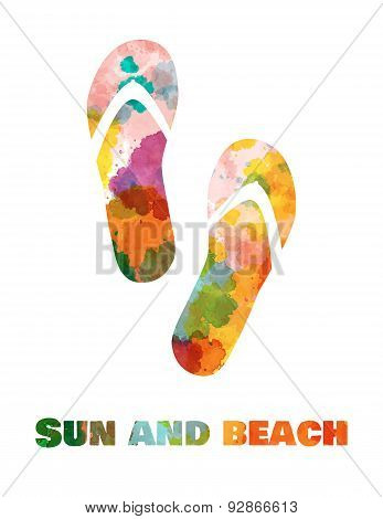 Sun and beach. Vietnamese shoes
