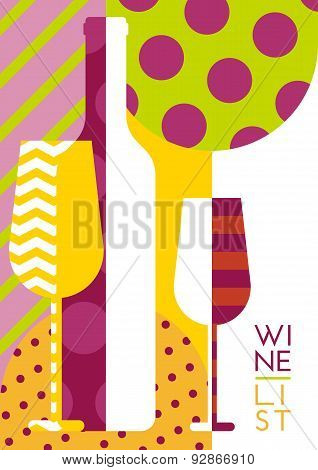 Vector Creative Wine Bottle, Glass Silhouette With Multicolor Pattern. Abstract Flat Geometric Backg