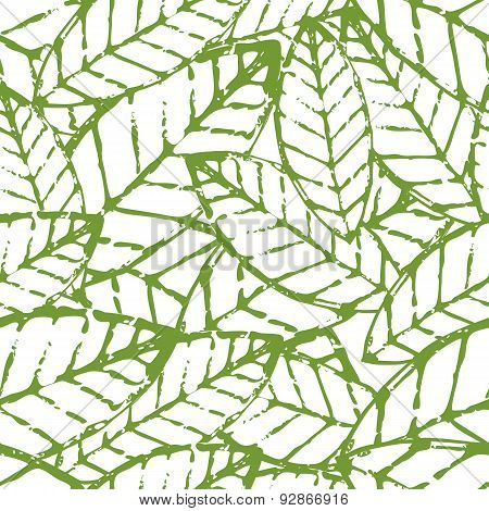 Watercolor Vector Leaf Seamless Pattern. Abstract Grunge Green And White Texture Background. Nature