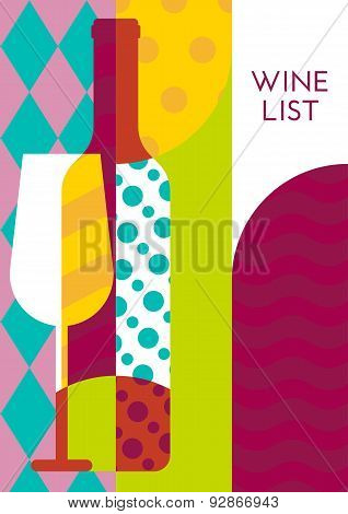 Creative Wine Bottle, Glass With Multicolor Pattern. Vector Abstract Flat Geometric Background Illus