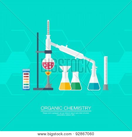 Chemical Concept. Organic Chemistry. Synthesis Of Substances. Border Of Benzene Rings. Flat Design.