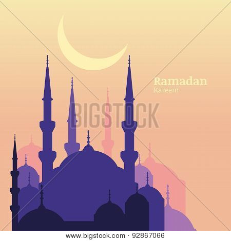 Ramadan Kareem Greeting Card With Silhouette Of Purple Mosque And Moon. Sunset Vector Background Wit