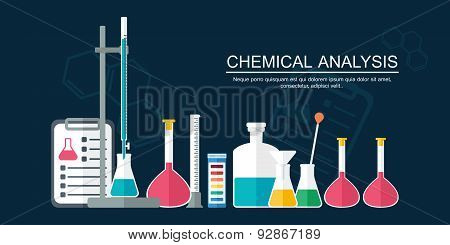 Research Concept. Chemical Banner, Background, Cover. Flat Design. Vector