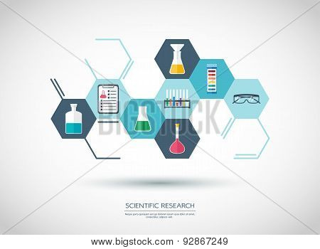Sconcept. Chemical Banner, Background, Cover. Chemical Icons. Flat Design. Vector