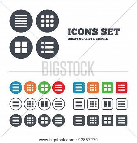 List menu icons. Content view options.