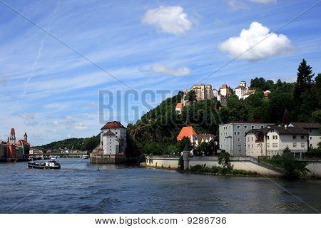 Passau - Castle, City And Danube