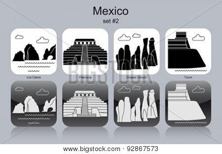 Landmarks of Mexico. Set of monochrome icons. Editable vector illustration.
