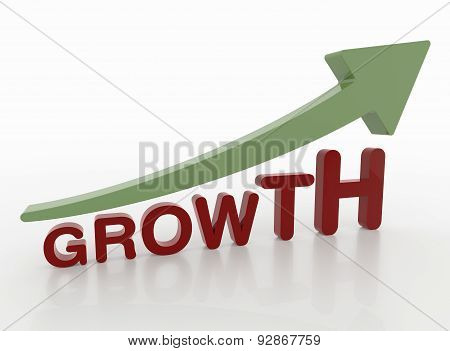 Growth Word With Arrow, 3D Motivation Concept