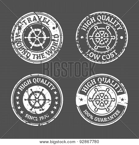 Set Of Grunge Vintage Style Sea And Summer Nautical Signs, Badges And Labels. Vector Black And White
