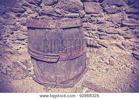 Vintage Toned Old Wooden Barrel Cask.