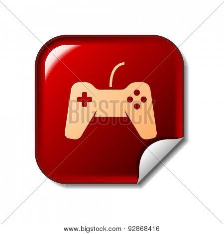 Gamepad icon on red sticker. Vector illustration
