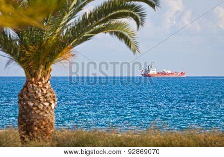 Industrial Ship In Mediterranean Sea Near Cyprus