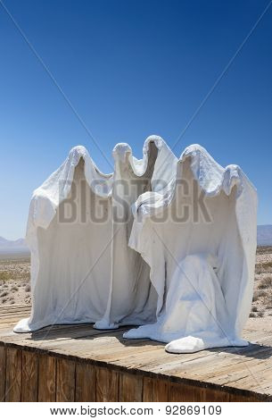 Spechless Plaster White Statues As Symbols Of The Abandoned Miner's Ghost City Rhyolite In Nevada Op