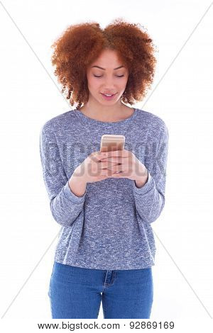 African American Young Woman Sending A Text Message On Her Smartphone - Black Teenager People