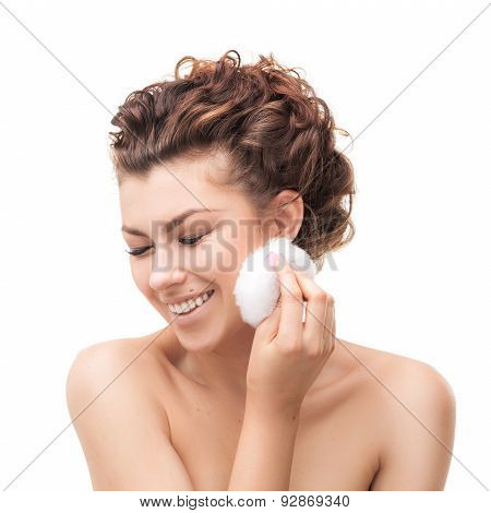 beautiful woman with cotton sponge