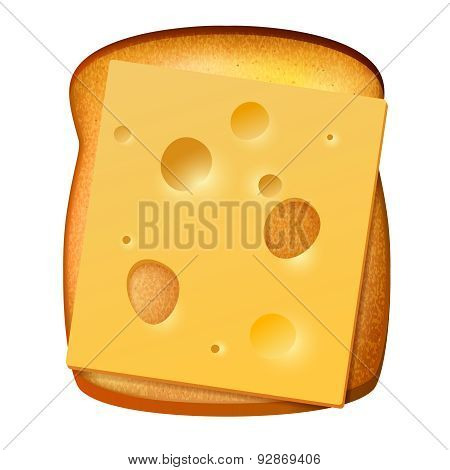 Toasted Bread With Slice Of Cheese