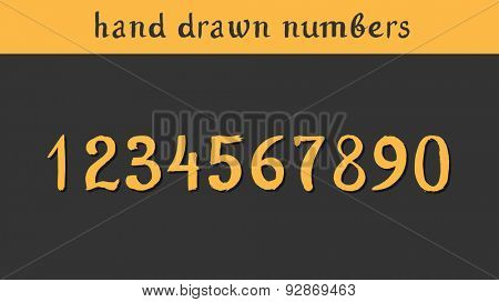 Hand drawn vector numbers. Illustration painted with a brush