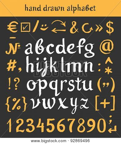 Hand drawn letters and numbers. Vector alphabet of the written with a watercolor brush