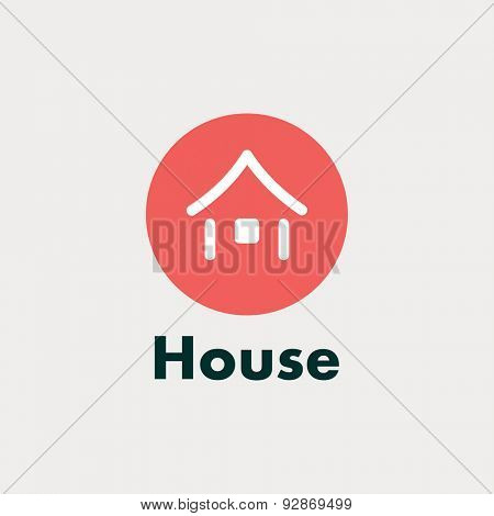 Icon house. Vector abstract silhouette. red circle Japan